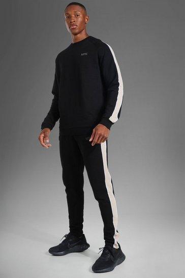 Black Man Active Side Stripe Sweater Tracksuit