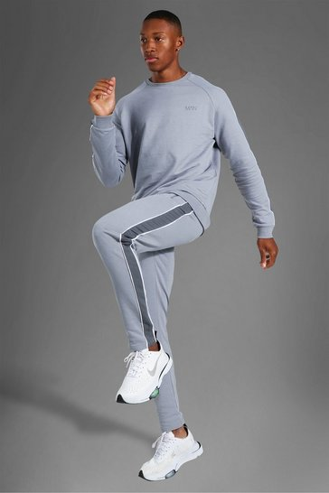 Grey Man Active Side Stripe Sweater Tracksuit