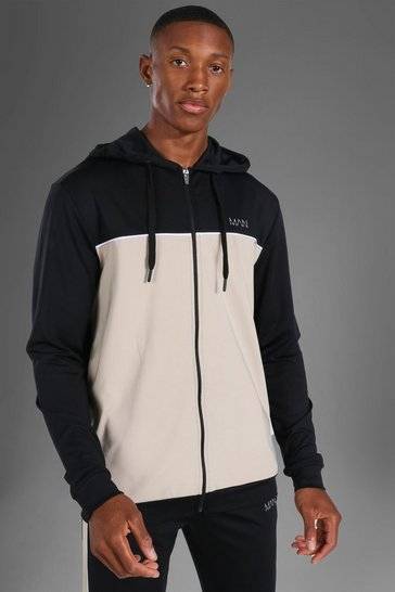 Black Man Active Colour Block Zip Through Hoodie
