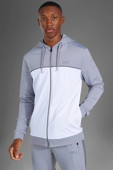 Grey Man Active Colour Block Zip Through Hoodie