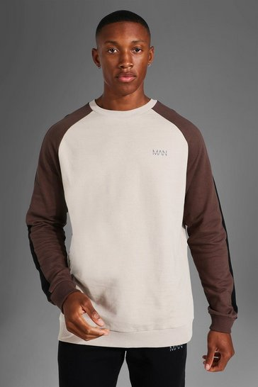 Taupe beige Man Active Side Stripe Sweater