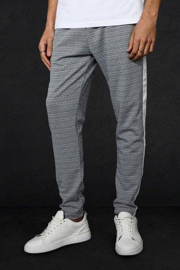 Grey Skinny Fit Original Man Jacquard Joggers