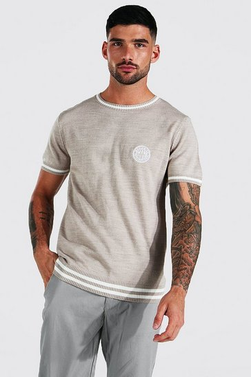 Stone beige Varsity Knitted T-shirt With Man Badge
