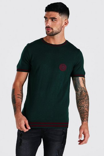 Green Varsity Knitted T-shirt With Man Badge