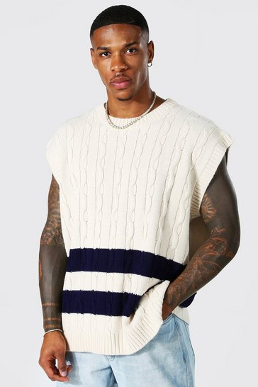 Ecru white Oversized Crew Neck Cable Knitted Vest