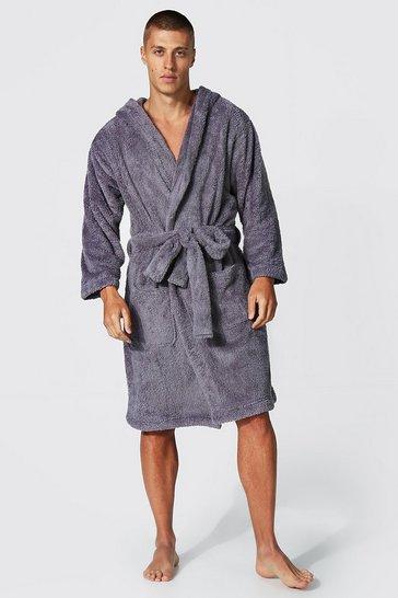 Grey Fleece Hooded Dressing Gown