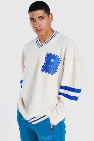 Cream white Oversized V Neck Varsity Badge Knitted Jumper