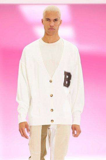 Cream white Oversized Varsity Badge Cardigan