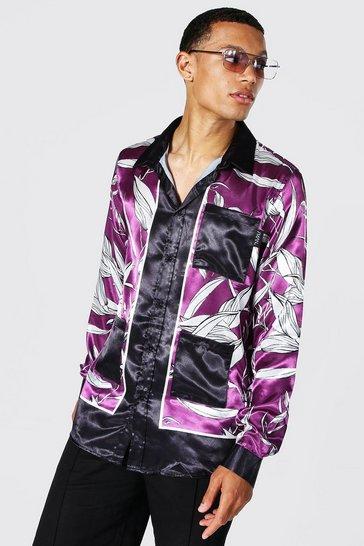 Purple Tall Satin Border Print Palm Shirt