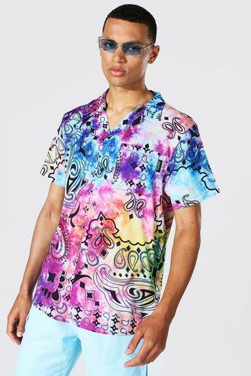 Multi Tall Paisley Tie Dye Printed Shirt