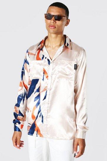Ecru white Tall Satin Leaf Print Spliced Shirt