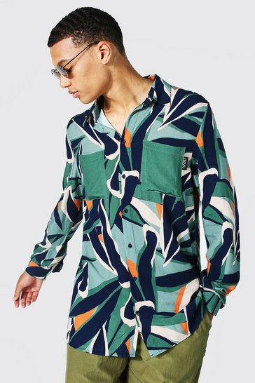 Green Tall Abstract Leaf Viscose Shirt