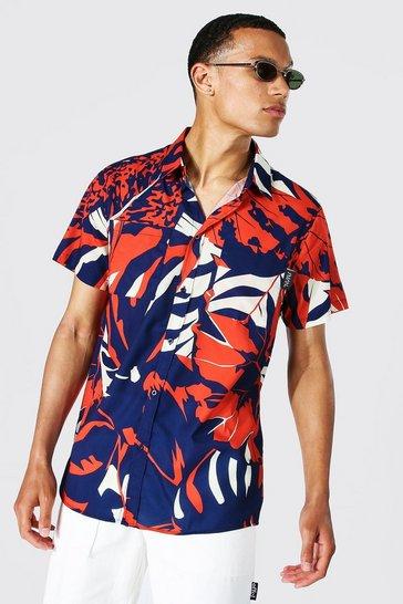 Navy Tall Short Sleeve Leaf Print Shirt