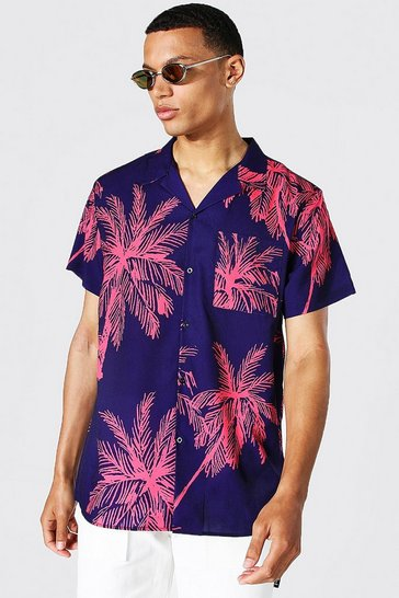 Purple Tall Short Sleeve Palm Print Shirt
