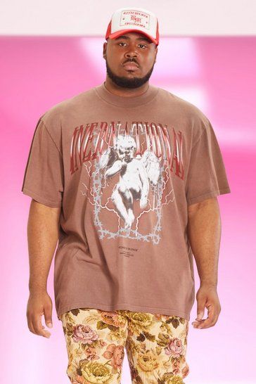 Chocolate brown Plus Loose Fit Extended Neck Washed T-shirt