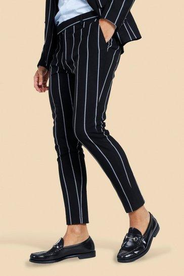 Black Super Skinny Pinstripe Suit Trousers