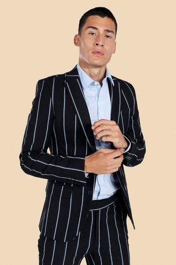 Black Super Skinny Pinstripe Suit