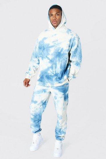 Navy Oversized Offcl Tie Dye Hooded Tracksuit