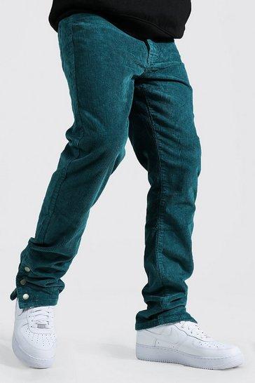 Teal green Straight Leg Stretch Cord Popper Hem Trouser