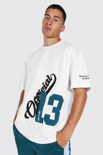 Ecru white Oversized Official Varsity Badge T-shirt