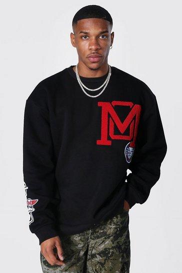 Black Oversized M Badge Varsity Sweatshirt