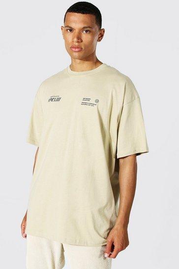 Stone beige Tall Worldwide Back Print T-shirt