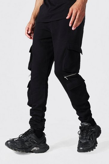 Black Tall Jersey Cargo Jogger With Zip Detail