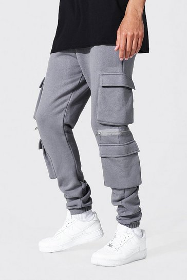 Charcoal grey Tall Jersey Cargo Jogger With Zip Detail