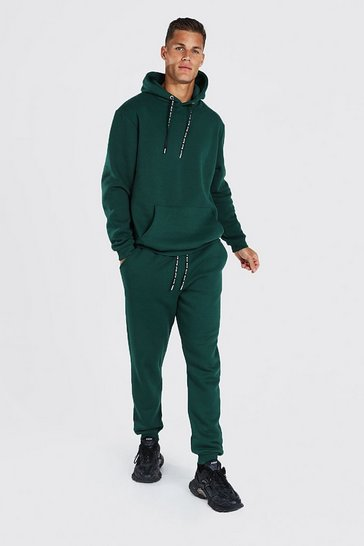 Green Tall Hooded Tracksuit With Man Drawcords