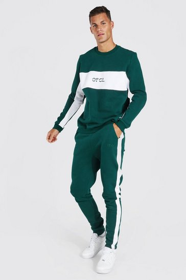 Green Tall Official Colour Block Sweater Tracksuit