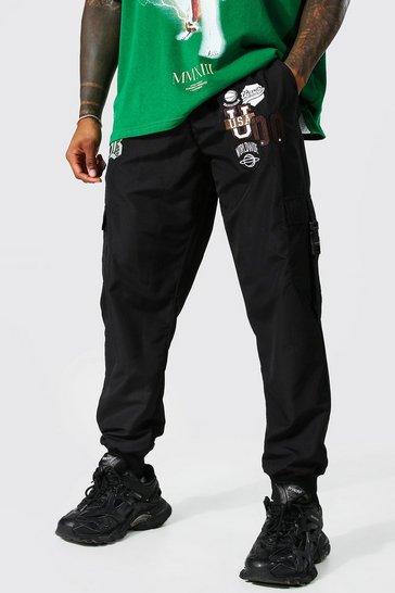 Black Man Shell Varsity Cargo Trouser