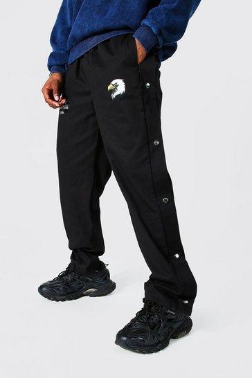 Black Straight Leg Varsity Twill Popper Trouser