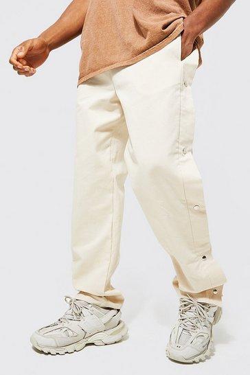 Ecru white Straight Leg Twill Side Popper Trouser
