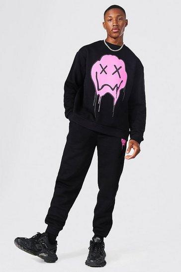 Black Loose Fit Drip Face Sweatshirt Tracksuit