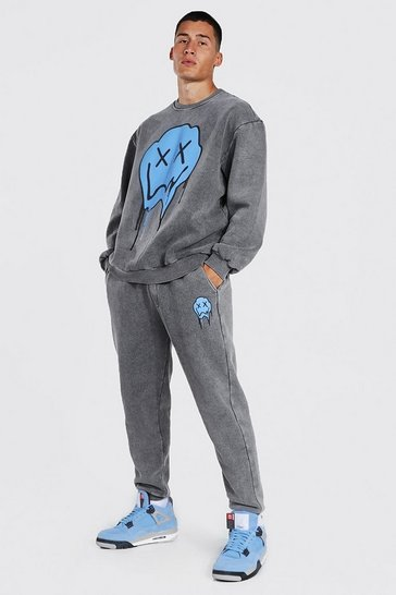 Charcoal grey Loose Acid Wash Drip Face Sweater Tracksuit