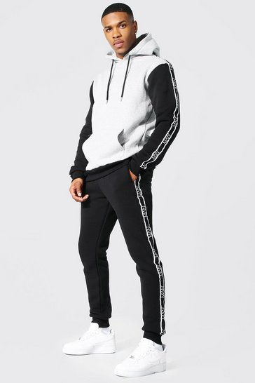 Black Colour Block Hooded Tracksuit With Man Tape