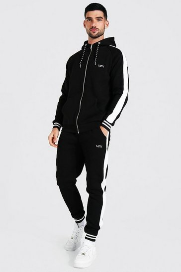 Black Man Muscle Fit Tracksuit With Sports Rib