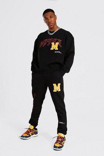 Black Oversized Official Varsity Sweatshirt Tracksuit