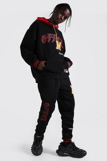 Black Oversized Official Varsity Hooded Tracksuit