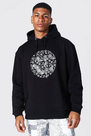Black Oversized Paisley Drip Face Rhinestone Hoodie