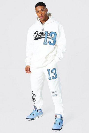 Ecru white Oversized Official Varsity Applique Tracksuit