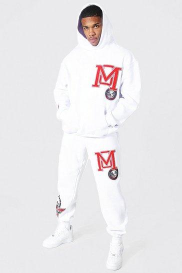 White Oversized Varsity Applique Hooded Tracksuit