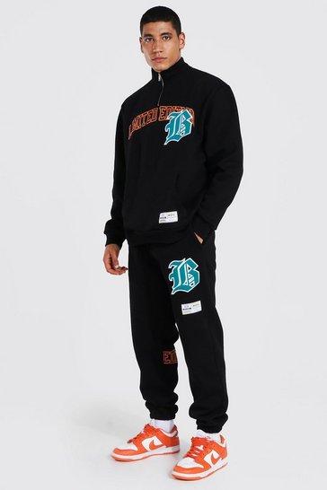 Black Oversized Varsity Applique Half Zip Tracksuit