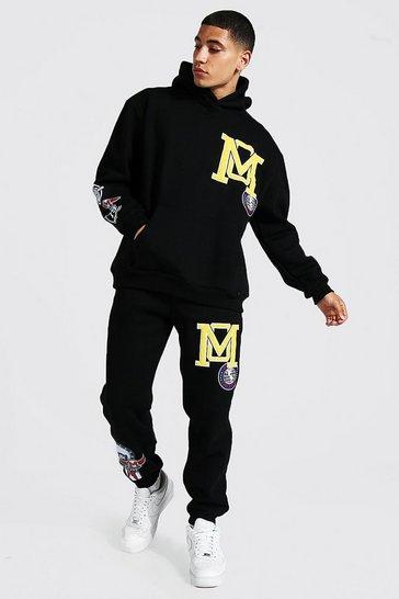 Black Oversized Varsity Applique Hooded Tracksuit