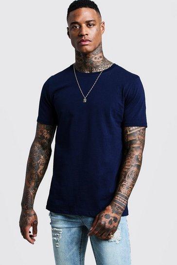 Blue Basic Crew Neck T-shirt