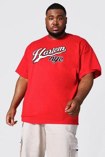 Red Plus Size Harlem Nyc Varsity T-shirt