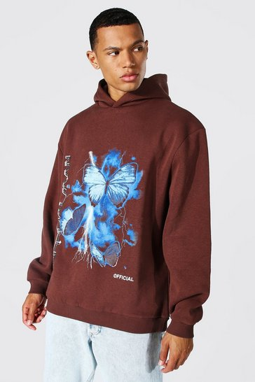 Chocolate brown Tall Oversized Butterfly Print Hoodie