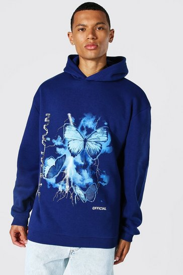 Navy Tall Oversized Butterfly Print Hoodie
