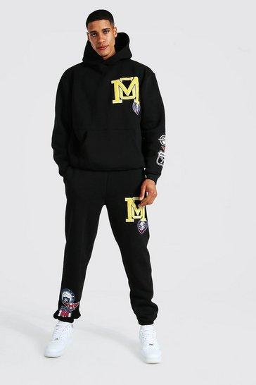Black Tall Varsity Applique Hooded Tracksuit