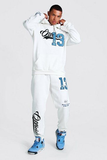 Ecru white Tall Official Varsity Applique Tracksuit